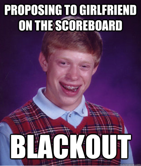 Proposing to Girlfriend on the scoreboard Blackout - Proposing to Girlfriend on the scoreboard Blackout  Badluckbrian
