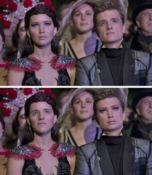 Here are the results of a Katniss/Peeta Faceswap… -   Misc