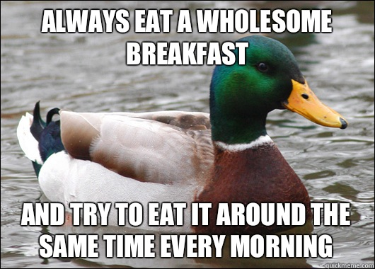 Always eat a wholesome breakfast And try to eat it around the same time every morning - Always eat a wholesome breakfast And try to eat it around the same time every morning  Actual Advice Mallard