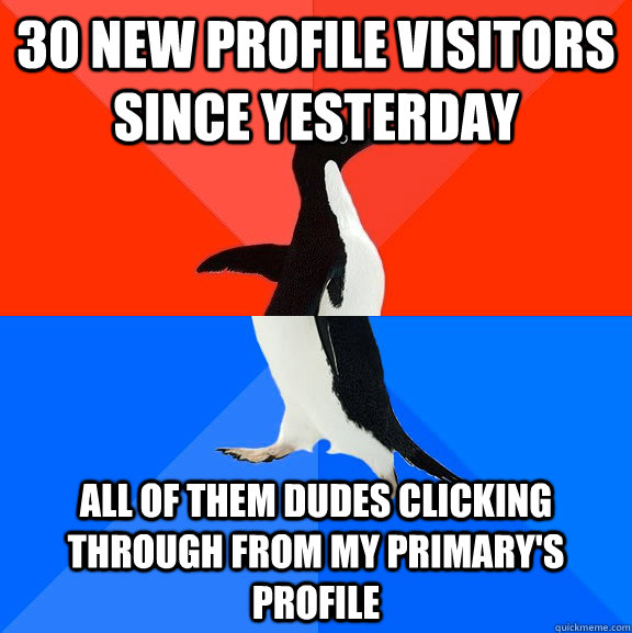 30 new profile visitors since yesterday all of them dudes clicking through from my primary's profile - 30 new profile visitors since yesterday all of them dudes clicking through from my primary's profile  Socially Awesome Awkward Penguin