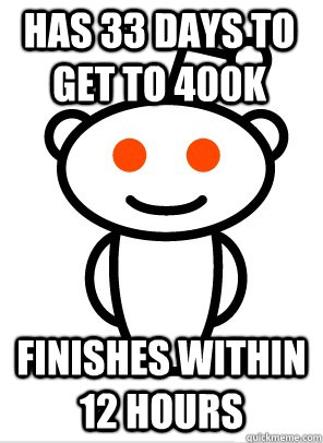 Has 33 days to get to 400K finishes within 12 hours