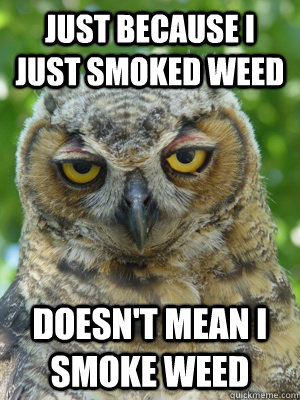 just because i just smoked weed doesn't mean i smoke weed