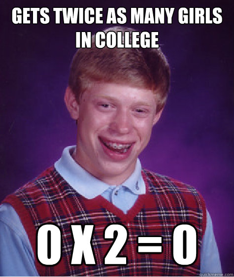 gets twice as many girls in college 0 x 2 = 0 - gets twice as many girls in college 0 x 2 = 0  Bad Luck Brian