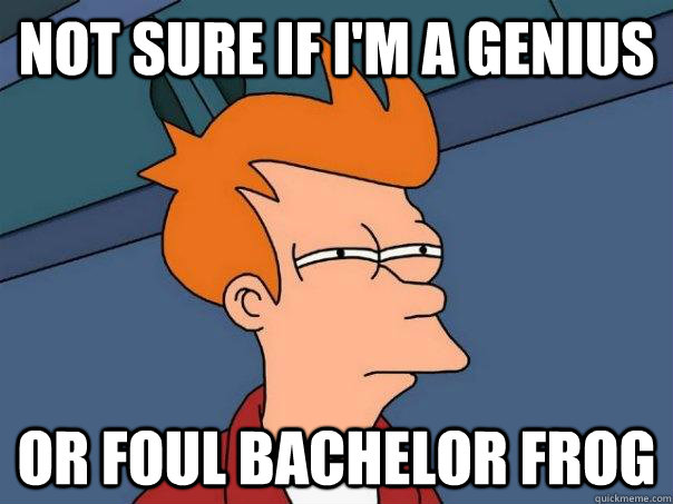 Not sure if I'm a genius Or foul bachelor frog - Not sure if I'm a genius Or foul bachelor frog  Futurama Fry