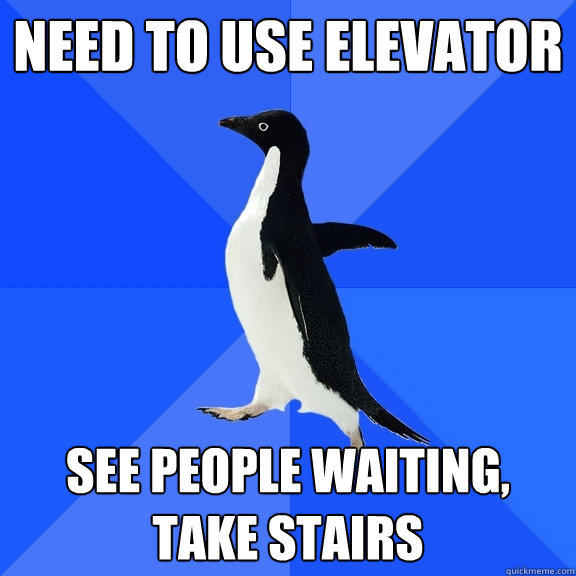 Need to use elevator See people waiting, take stairs - Need to use elevator See people waiting, take stairs  Socially Awkward Penguin