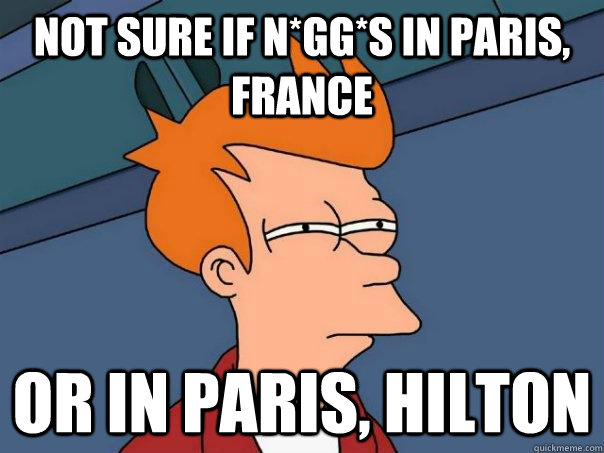 Not sure if N*gg*s in Paris, France Or in Paris, Hilton - Not sure if N*gg*s in Paris, France Or in Paris, Hilton  Futurama Fry