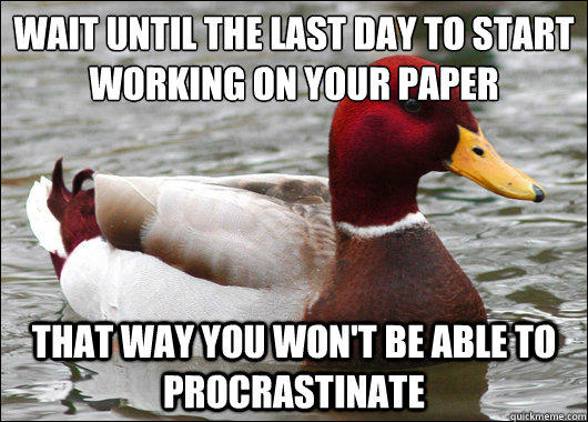 Wait until the last day to start working on your paper  That way you won't be able to procrastinate - Wait until the last day to start working on your paper  That way you won't be able to procrastinate  Malicious Advice Mallard