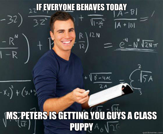 If everyone behaves today Ms. Peters is getting you guys a class puppy - If everyone behaves today Ms. Peters is getting you guys a class puppy  Scumbag College-aged Substitute Teacher
