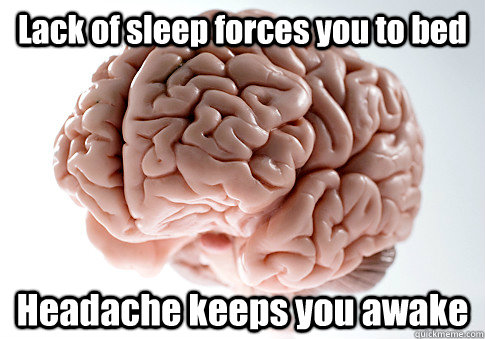 Lack of sleep forces you to bed Headache keeps you awake - Lack of sleep forces you to bed Headache keeps you awake  Scumbag Brain