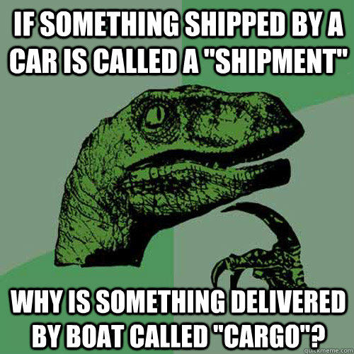 If something shipped by a car is called a