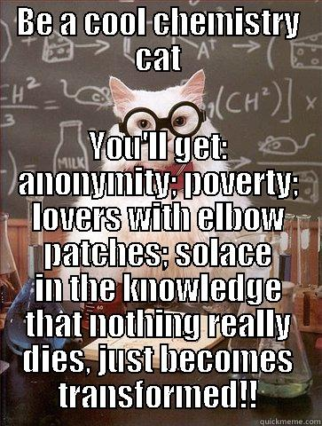 BE A COOL CHEMISTRY CAT YOU'LL GET: ANONYMITY; POVERTY; LOVERS WITH ELBOW PATCHES; SOLACE IN THE KNOWLEDGE THAT NOTHING REALLY DIES, JUST BECOMES TRANSFORMED!! Science Cat