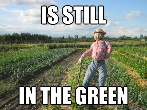 is still in the green  Scarecrow
