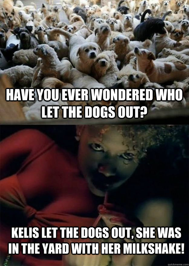 Have you ever wondered Who let the dogs out? Kelis let the dogs out, She was in the yard with her milkshake! - Have you ever wondered Who let the dogs out? Kelis let the dogs out, She was in the yard with her milkshake!  Misc