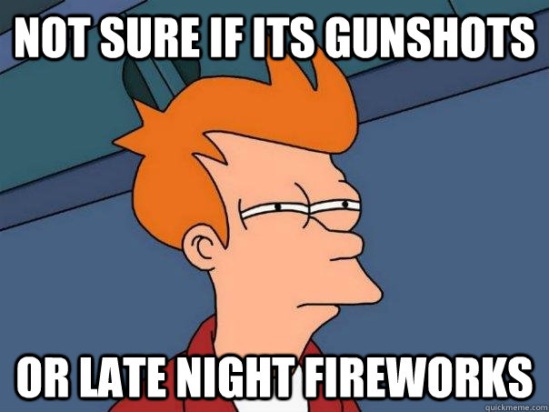 Not sure if its gunshots Or late night fireworks - Not sure if its gunshots Or late night fireworks  Futurama Fry