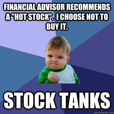 Financial advisor recommends a