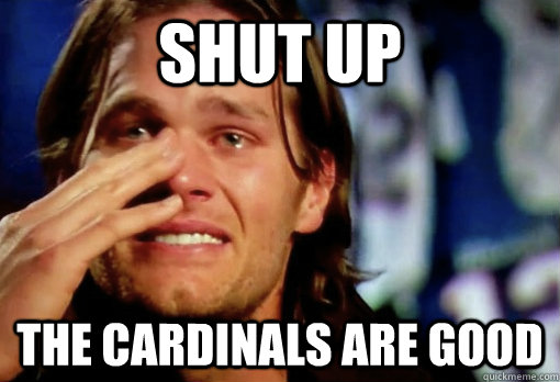 e397887145b4569e25dc0c5bf8830af80f74e0bac5800c9ad634eec011662179 shut up the cardinals are good crying tom brady quickmeme