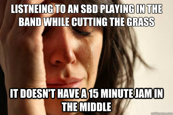 Listneing to an SBD playing in the Band while cutting the grass it doesn't have a 15 minute jam in the middle - Listneing to an SBD playing in the Band while cutting the grass it doesn't have a 15 minute jam in the middle  First World Problems