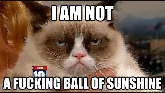 I am not a fucking ball of sunshine