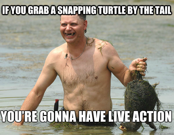 If you grab a snapping turtle by the tail You're gonna have live action
