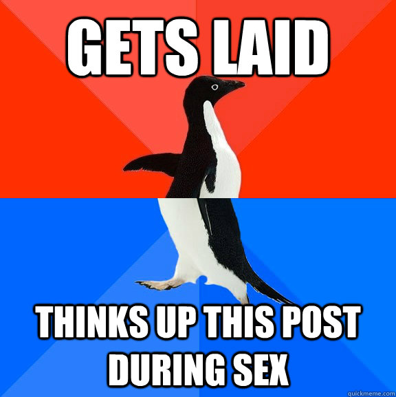 Gets laid Thinks up this post during sex - Gets laid Thinks up this post during sex  Socially Awesome Awkward Penguin