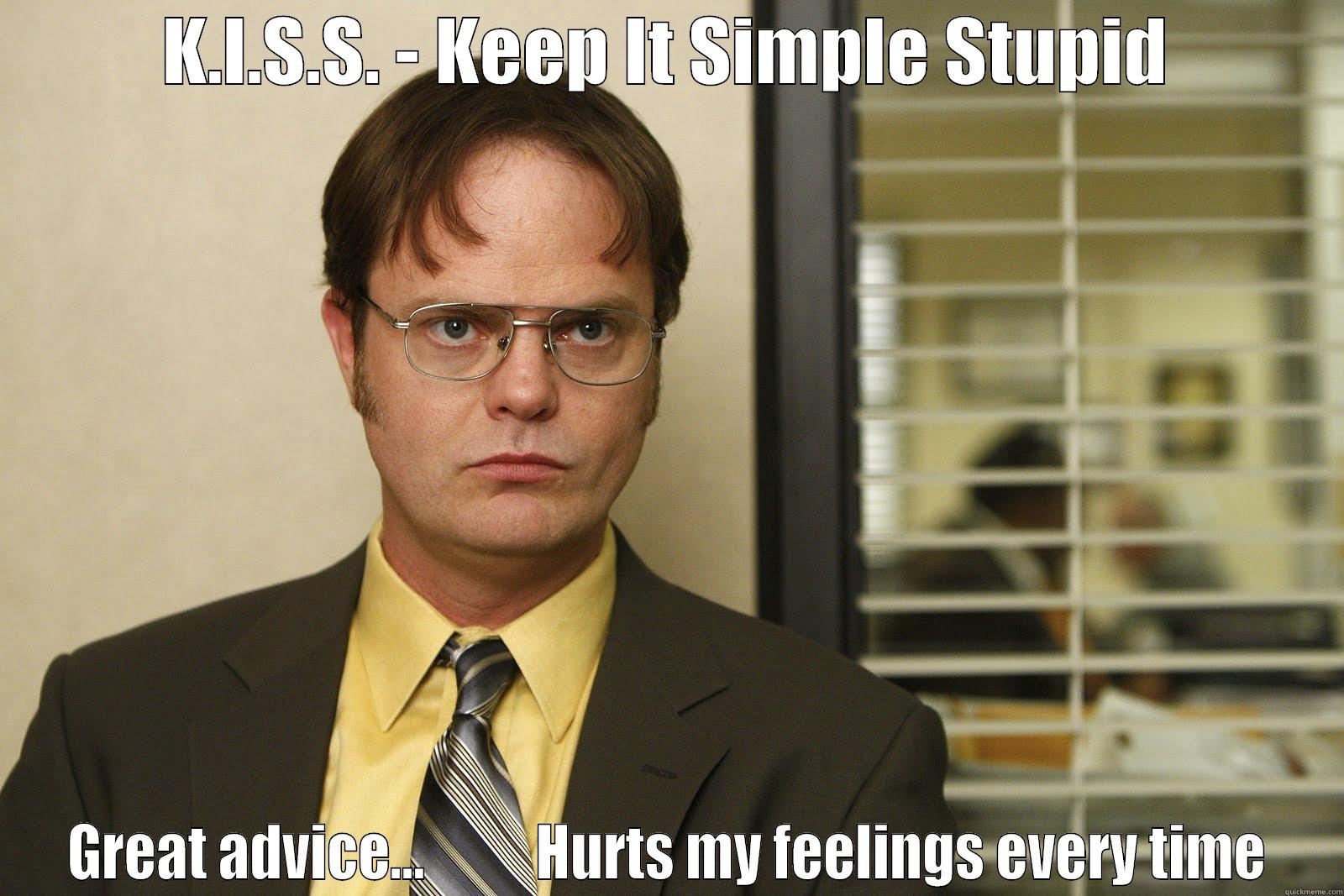 K.I.S.S. - KEEP IT SIMPLE STUPID GREAT ADVICE...          HURTS MY FEELINGS EVERY TIME Misc