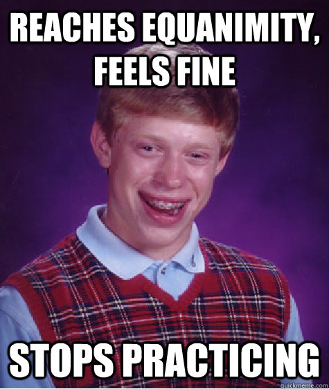 Reaches equanimity, Feels FIne Stops practicing - Reaches equanimity, Feels FIne Stops practicing  Bad Luck Brian