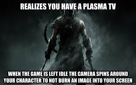 Realizes you have a plasma tv when the game is left idle the camera spins around your character to not burn an image into your screen - Realizes you have a plasma tv when the game is left idle the camera spins around your character to not burn an image into your screen  good guy skyrim