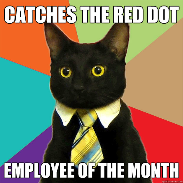 e4866a18c15bd982ab28f165cc139e662e21d7484a6e4db15181d8b1cc6b601e catches the red dot employee of the month business cat quickmeme