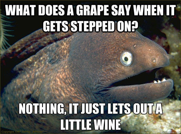 What does a grape say when it gets stepped on? Nothing, it just lets out a little wine  Bad Joke Eel