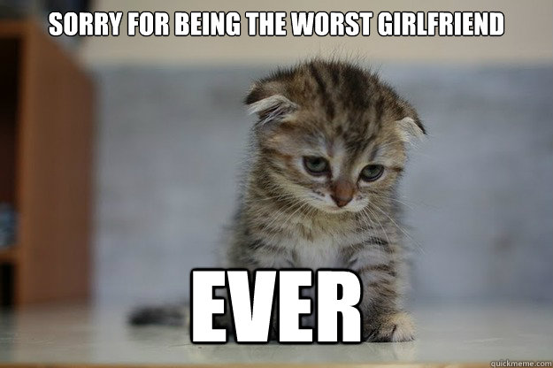 Sorry for being the worst girlfriend EVER  Sad Kitten