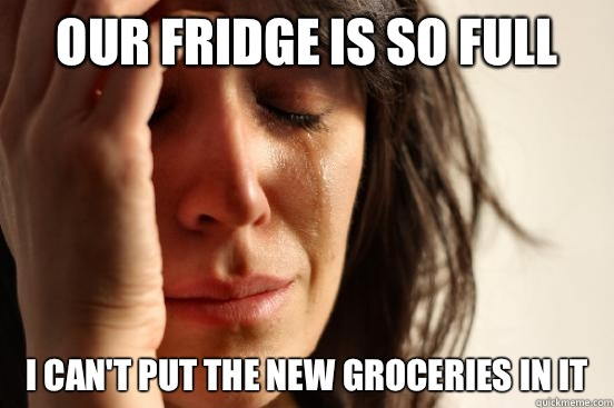 Our fridge is so full I can't put the new groceries in it - Our fridge is so full I can't put the new groceries in it  First World Problems