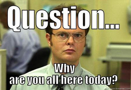 QUESTION... WHY ARE YOU ALL HERE TODAY?  Schrute