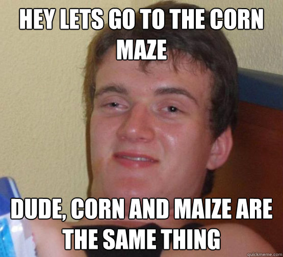Hey lets go to the corn maze dude, corn and maize are the same thing