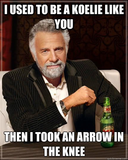 I used to be a koelie like you Then I took an arrow in the knee  The Most Interesting Man In The World