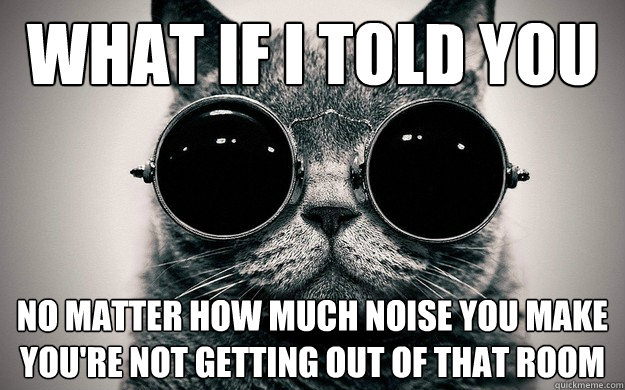 What if i told you No matter how much noise you make you're not getting out of that room - What if i told you No matter how much noise you make you're not getting out of that room  Morpheus Cat Facts