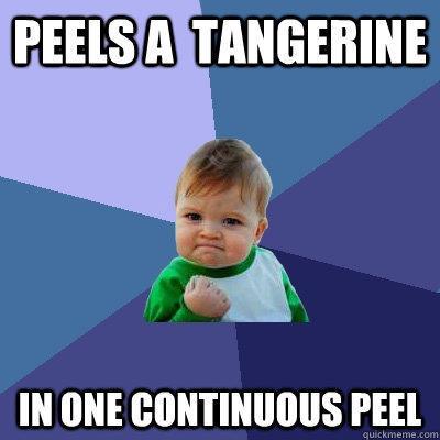 Peels a  tangerine in one continuous peel - Peels a  tangerine in one continuous peel  Success Kid