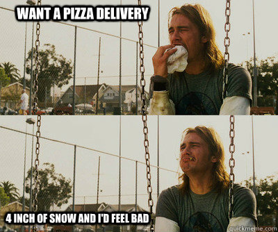 Want a pizza delivery 4 inch of snow and I'd feel bad - Want a pizza delivery 4 inch of snow and I'd feel bad  First World Stoner Problems