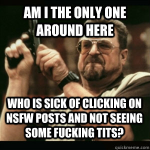Am i the only one around here Who is sick of clicking on NSFW posts and not seeing some fucking tits? - Am i the only one around here Who is sick of clicking on NSFW posts and not seeing some fucking tits?  Misc