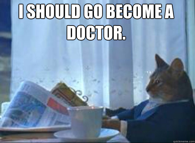 I should go become a doctor.  - I should go become a doctor.   I should buy a boat cat