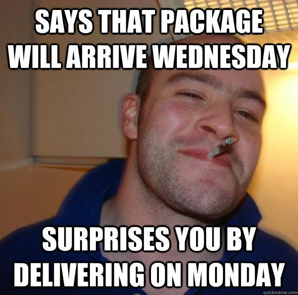 Says that package will arrive Wednesday Surprises you by delivering on Monday - Says that package will arrive Wednesday Surprises you by delivering on Monday  Misc