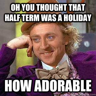 Oh you thought that Half term was a holiday how adorable  Condescending Wonka