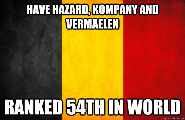 have hazard, kompany and vermaelen ranked 54th in world