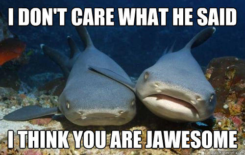 I don't care what he said i think you are jawesome  Compassionate Shark Friend