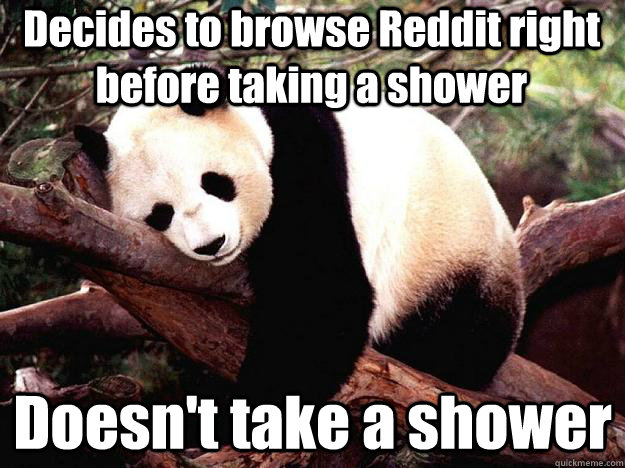 Decides to browse Reddit right before taking a shower Doesn't take a shower - Decides to browse Reddit right before taking a shower Doesn't take a shower  Procrastination Panda