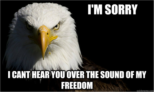 i'm sorry i cant hear you over the sound of my freedom - i'm sorry i cant hear you over the sound of my freedom  America Eagle Says