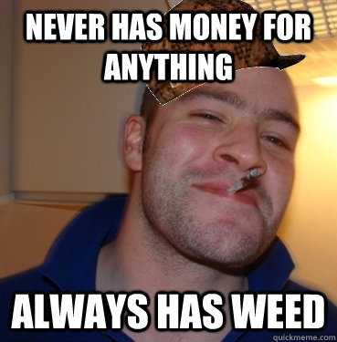 never has money for anything always has weed