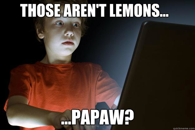 those aren't lemons... ...papaw?  scared first day on the internet kid