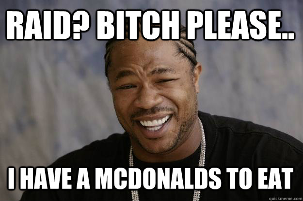 Raid? Bitch please.. I Have a mcdonalds to eat - Raid? Bitch please.. I Have a mcdonalds to eat  Xzibit meme