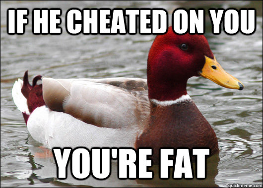 If he cheated on you You're fat - If he cheated on you You're fat  Malicious Advice Mallard
