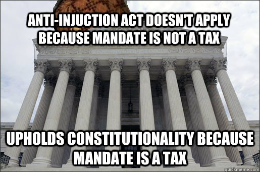 Anti-Injuction Act doesn't apply because mandate is not a tax Upholds constitutionality because mandate is a tax